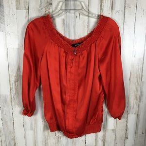 WHBM 100% Silk Red Career Dress Top Open Sleeves M